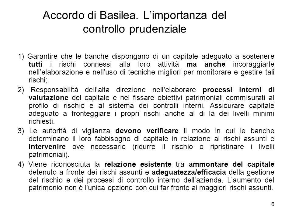 6 Accordo di Basilea. Limportanza del controllo prudenziale 1) Garantire che le banche dispongano di un capitale adeguato a sostenere tutti i rischi c