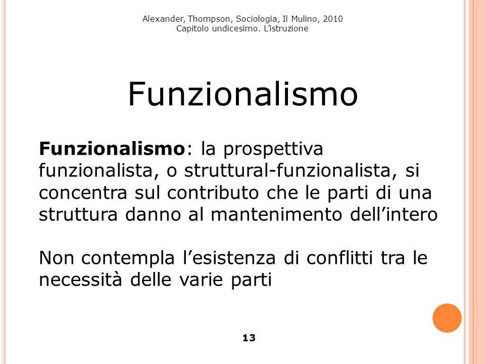 Alexander, Thompson, Sociologia, Il Mulino, 2010 Capitolo undicesimo. Listruzione 13 Funzionalismo Funzionalismo: la prospettiva funzionalista, o stru