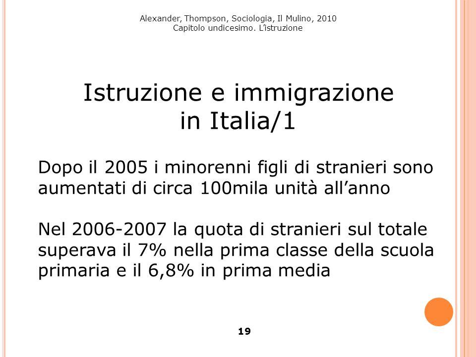 Alexander, Thompson, Sociologia, Il Mulino, 2010 Capitolo undicesimo. Listruzione 19 Istruzione e immigrazione in Italia/1 Dopo il 2005 i minorenni fi