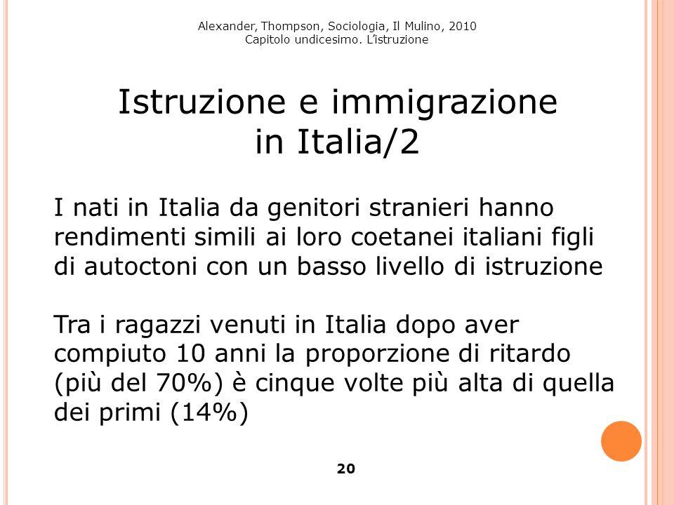 Alexander, Thompson, Sociologia, Il Mulino, 2010 Capitolo undicesimo. Listruzione 20 Istruzione e immigrazione in Italia/2 I nati in Italia da genitor