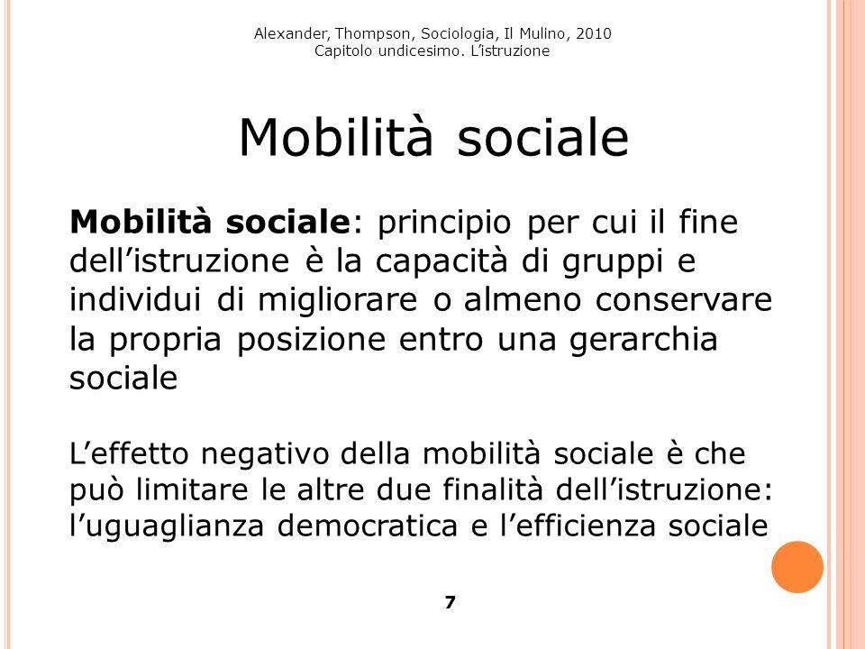 Alexander, Thompson, Sociologia, Il Mulino, 2010 Capitolo undicesimo. Listruzione 7 Mobilità sociale Mobilità sociale: principio per cui il fine delli
