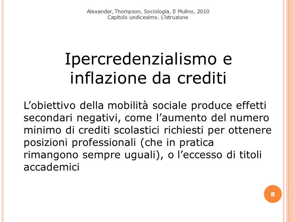 8 Alexander, Thompson, Sociologia, Il Mulino, 2010 Capitolo undicesimo. Listruzione Ipercredenzialismo e inflazione da crediti Lobiettivo della mobili