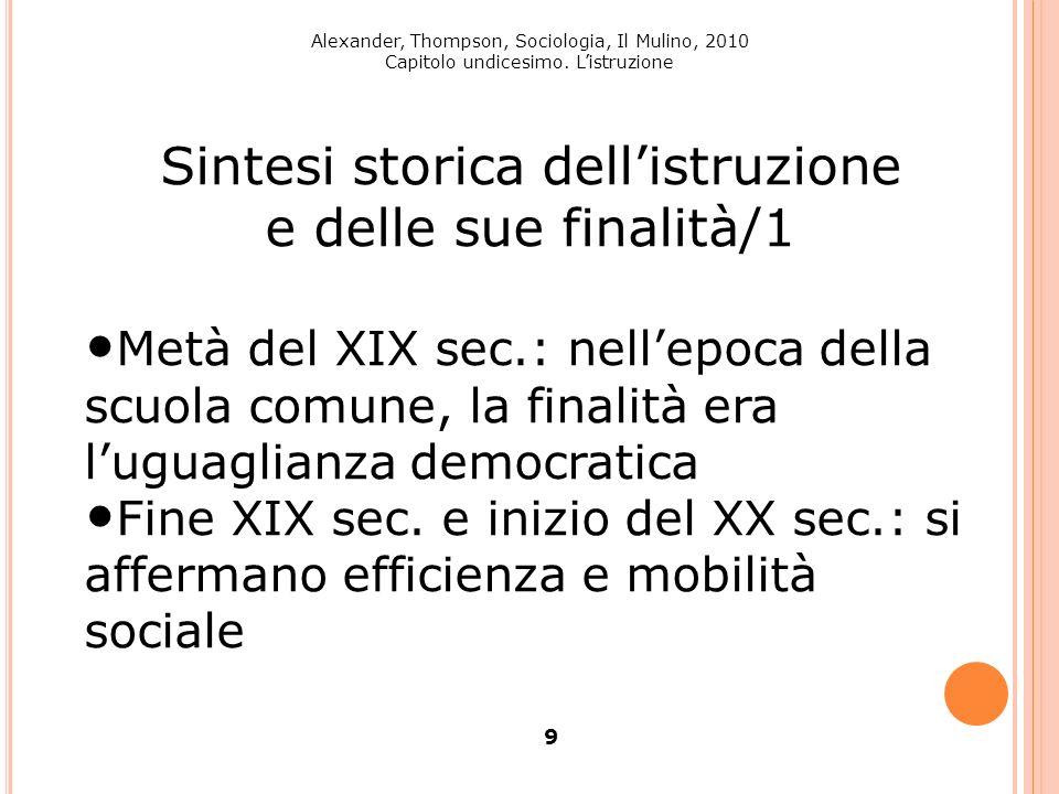 Alexander, Thompson, Sociologia, Il Mulino, 2010 Capitolo undicesimo. Listruzione 10