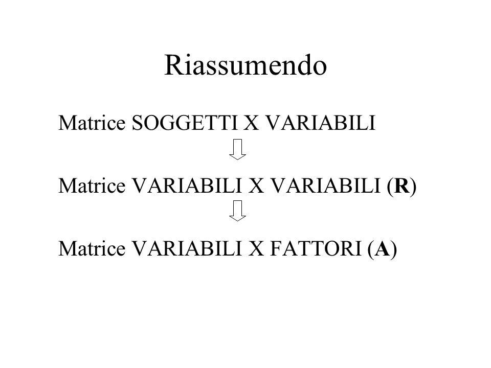 Riassumendo Matrice SOGGETTI X VARIABILI Matrice VARIABILI X VARIABILI (R) Matrice VARIABILI X FATTORI (A)