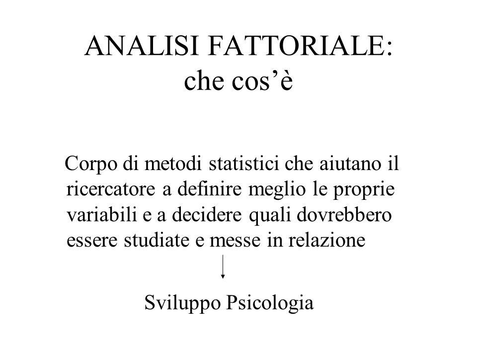 ANALISI FATTORIALE: che cosè Corpo di metodi statistici che aiutano il ricercatore a definire meglio le proprie variabili e a decidere quali dovrebber