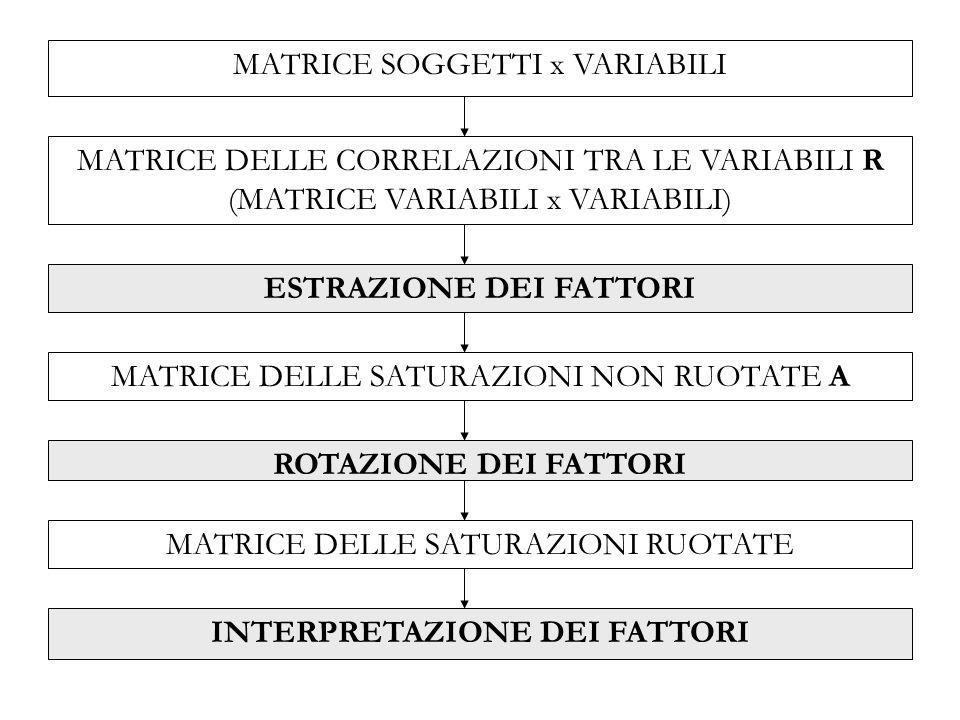 MATRICE DELLE CORRELAZIONI TRA LE VARIABILI R (MATRICE VARIABILI x VARIABILI) ESTRAZIONE DEI FATTORI MATRICE DELLE SATURAZIONI NON RUOTATE A ROTAZIONE