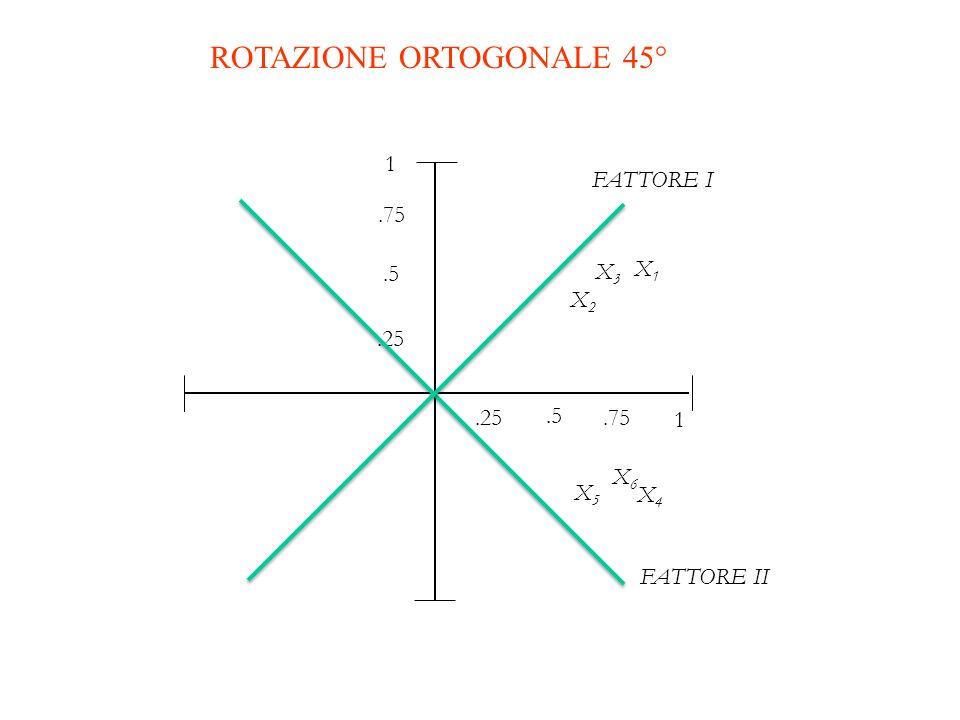 FATTORE I 1 X5X5.5.25.75 1.25.5.75 X2X2 X1X1 X3X3 X6X6 X4X4 FATTORE II ROTAZIONE ORTOGONALE 45°