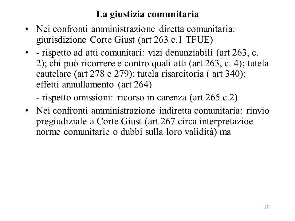 10 La giustizia comunitaria Nei confronti amministrazione diretta comunitaria: giurisdizione Corte Giust (art 263 c.1 TFUE) - rispetto ad atti comunit