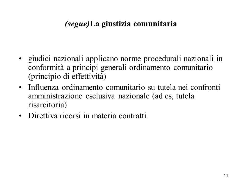11 (segue)La giustizia comunitaria giudici nazionali applicano norme procedurali nazionali in conformità a principi generali ordinamento comunitario (