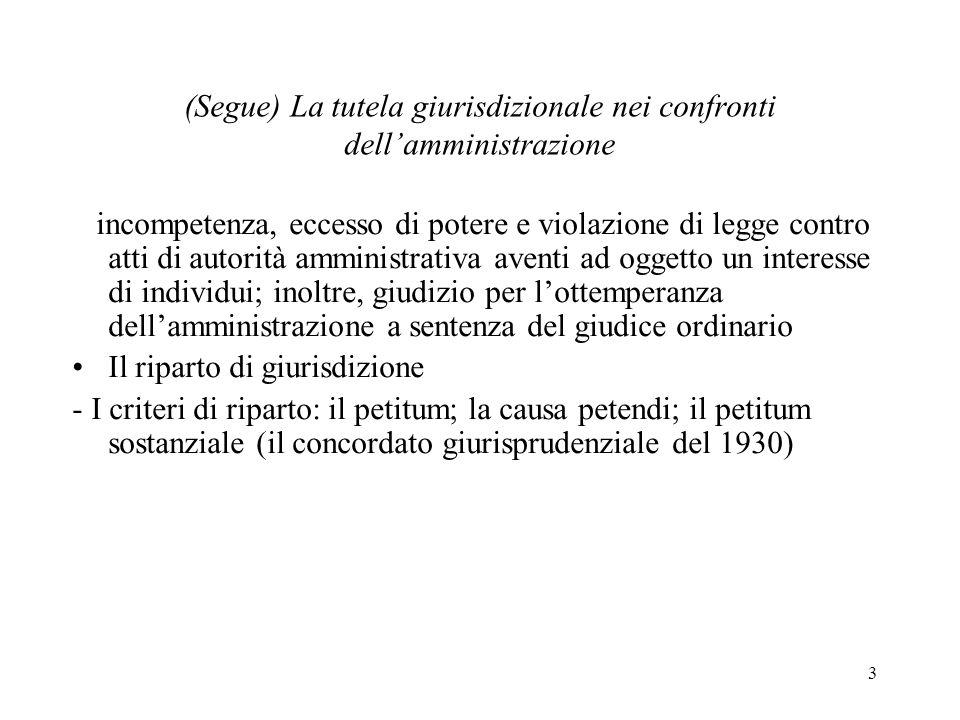 3 (Segue) La tutela giurisdizionale nei confronti dellamministrazione incompetenza, eccesso di potere e violazione di legge contro atti di autorità am