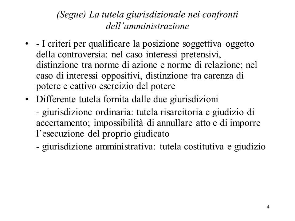 4 (Segue) La tutela giurisdizionale nei confronti dellamministrazione - I criteri per qualificare la posizione soggettiva oggetto della controversia: