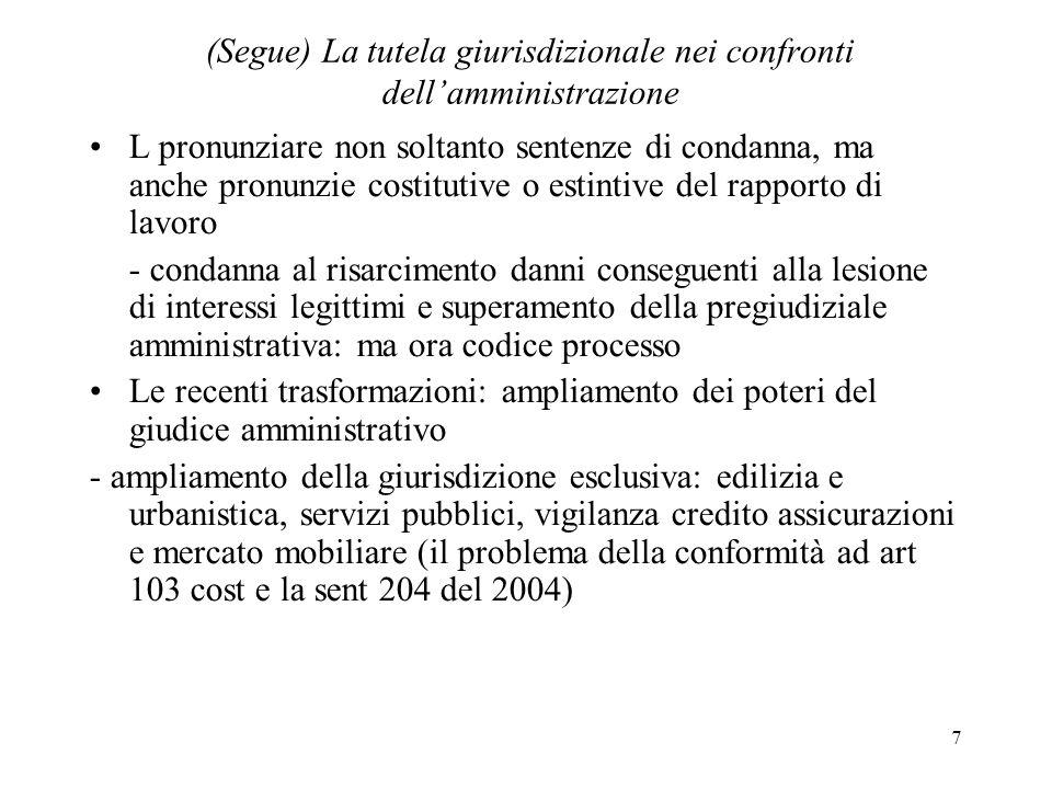 7 (Segue) La tutela giurisdizionale nei confronti dellamministrazione L pronunziare non soltanto sentenze di condanna, ma anche pronunzie costitutive