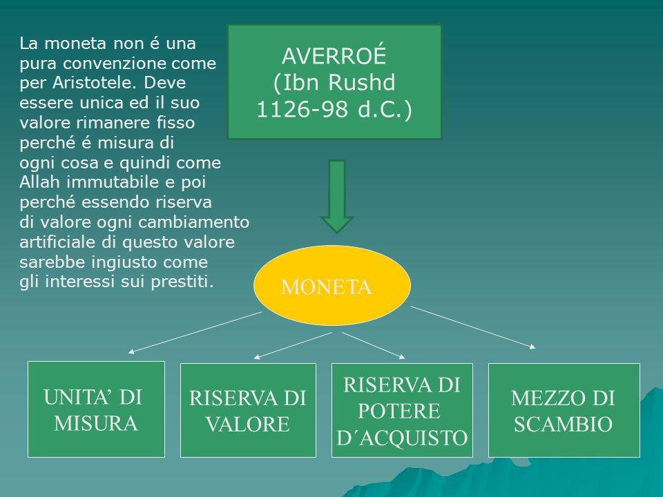UNITA DI MISURA RISERVA DI VALORE MEZZO DI SCAMBIO MONETA AVERROÉ (Ibn Rushd 1126-98 d.C.) RISERVA DI POTERE D´ACQUISTO La moneta non é una pura conve