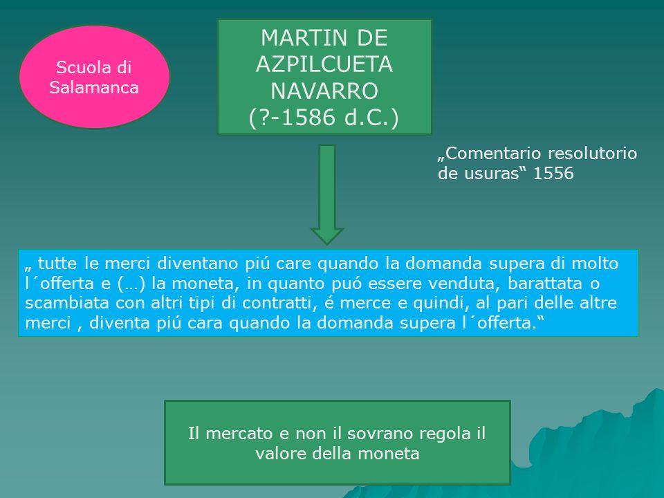 MARTIN DE AZPILCUETA NAVARRO (?-1586 d.C.) Comentario resolutorio de usuras 1556 tutte le merci diventano piú care quando la domanda supera di molto l