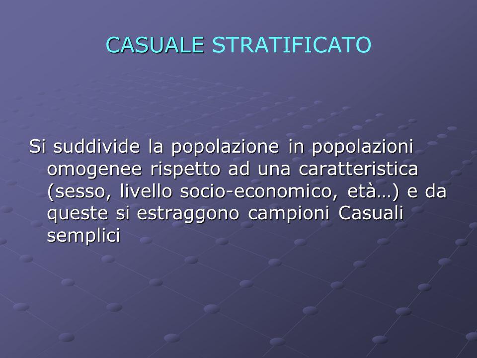 CAMPIONAMENTO CASUALE STRATIFICATO (sottoinsiemi caratterizzati da minor dispersione)