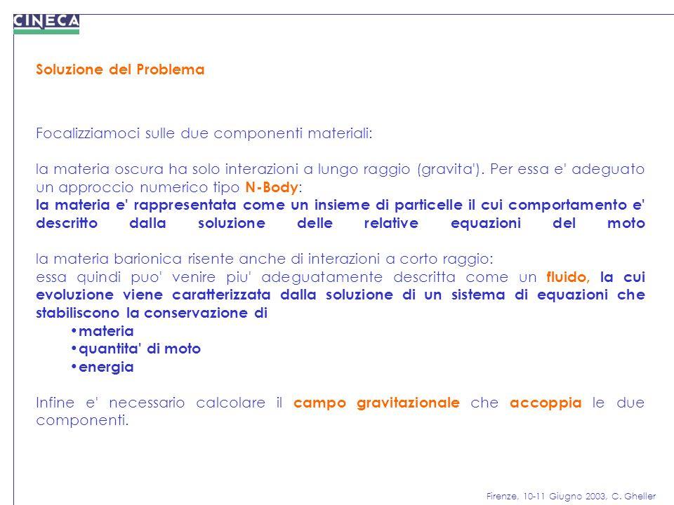 Firenze, 10-11 Giugno 2003, C. Gheller Soluzione del Problema Focalizziamoci sulle due componenti materiali: la materia oscura ha solo interazioni a l