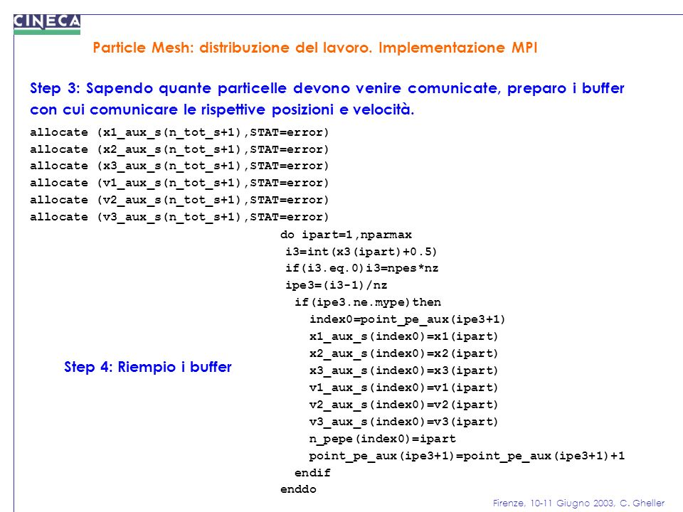 Firenze, 10-11 Giugno 2003, C. Gheller Particle Mesh: distribuzione del lavoro. Implementazione MPI Step 3: Sapendo quante particelle devono venire co