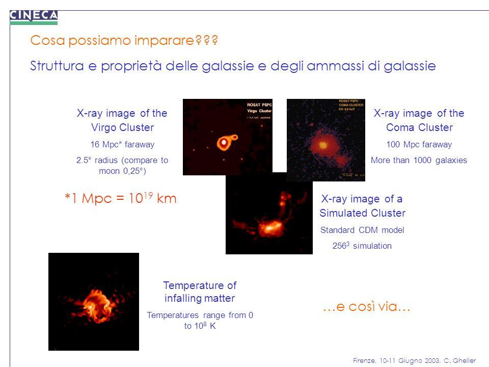 Firenze, 10-11 Giugno 2003, C. Gheller Cosa possiamo imparare??? Struttura e proprietà delle galassie e degli ammassi di galassie X-ray image of a Sim