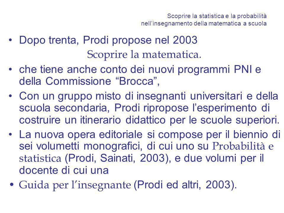 Scoprire la statistica e la probabilità nellinsegnamento della matematica a scuola Dopo trenta, Prodi propose nel 2003 Scoprire la matematica. che tie
