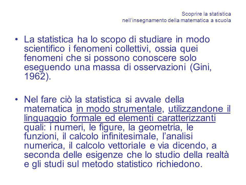 Scoprire la statistica nellinsegnamento della matematica a scuola La statistica ha lo scopo di studiare in modo scientifico i fenomeni collettivi, oss