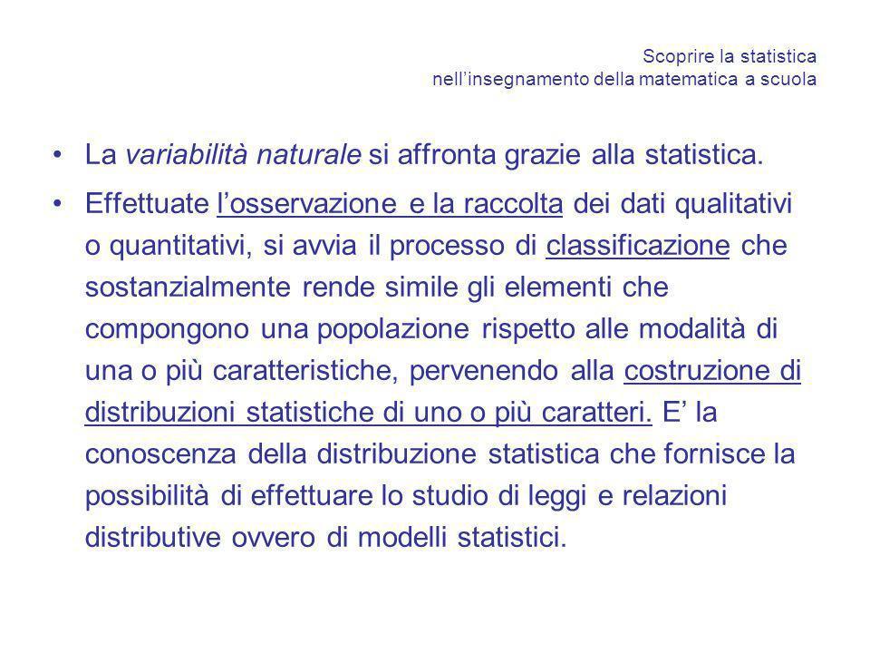 Scoprire la statistica nellinsegnamento della matematica a scuola La variabilità naturale si affronta grazie alla statistica. Effettuate losservazione