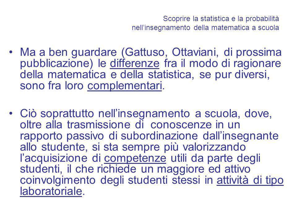 Scoprire la statistica e la probabilità nellinsegnamento della matematica a scuola Ma a ben guardare (Gattuso, Ottaviani, di prossima pubblicazione) le differenze fra il modo di ragionare della matematica e della statistica, se pur diversi, sono fra loro complementari.