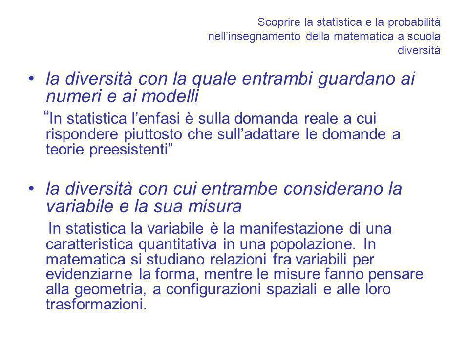 Scoprire la statistica e la probabilità nellinsegnamento della matematica a scuola diversità la diversità con la quale entrambi guardano ai numeri e ai modelli In statistica lenfasi è sulla domanda reale a cui rispondere piuttosto che sulladattare le domande a teorie preesistenti la diversità con cui entrambe considerano la variabile e la sua misura In statistica la variabile è la manifestazione di una caratteristica quantitativa in una popolazione.