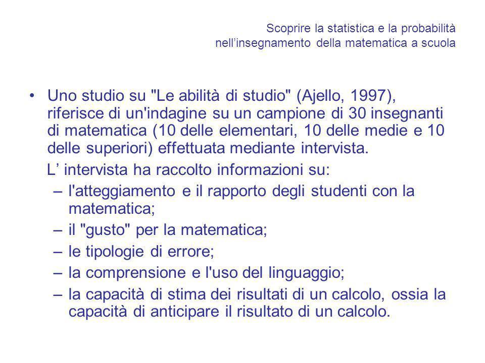 Scoprire la statistica e la probabilità nellinsegnamento della matematica a scuola Uno studio su Le abilità di studio (Ajello, 1997), riferisce di un indagine su un campione di 30 insegnanti di matematica (10 delle elementari, 10 delle medie e 10 delle superiori) effettuata mediante intervista.