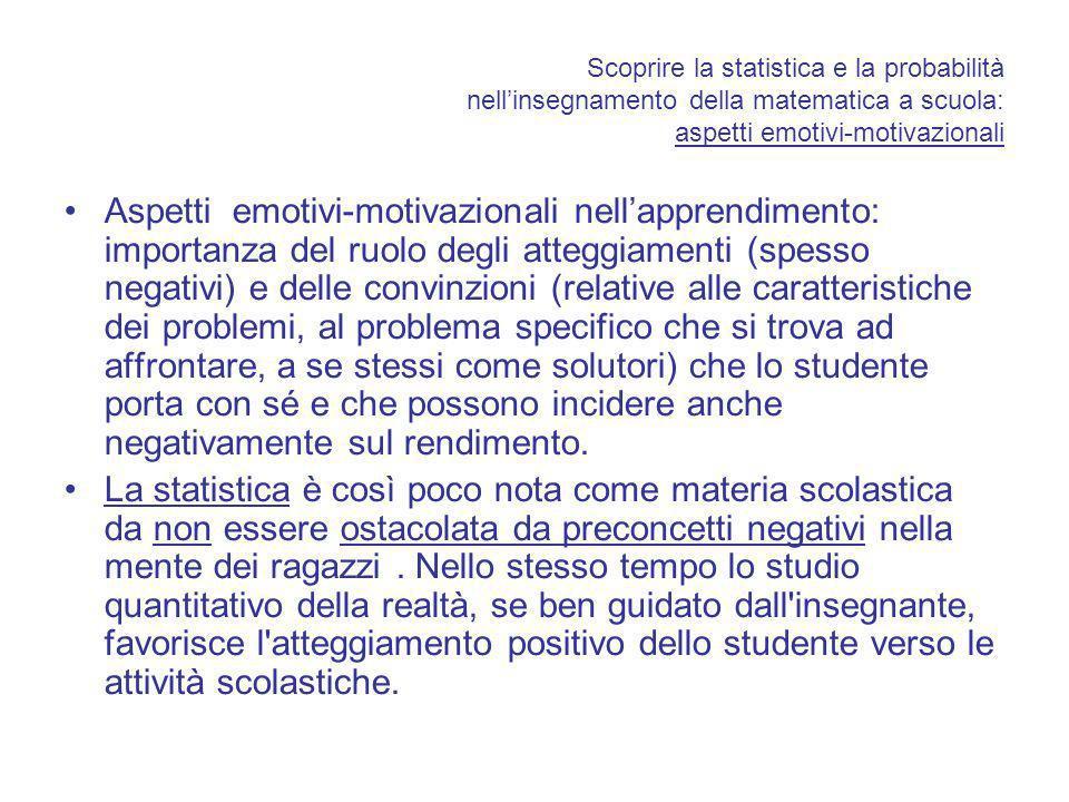 Scoprire la statistica e la probabilità nellinsegnamento della matematica a scuola: aspetti emotivi-motivazionali Aspetti emotivi-motivazionali nellap