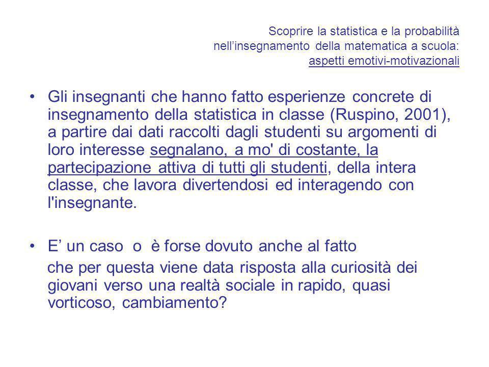 Scoprire la statistica e la probabilità nellinsegnamento della matematica a scuola: aspetti emotivi-motivazionali Gli insegnanti che hanno fatto esper