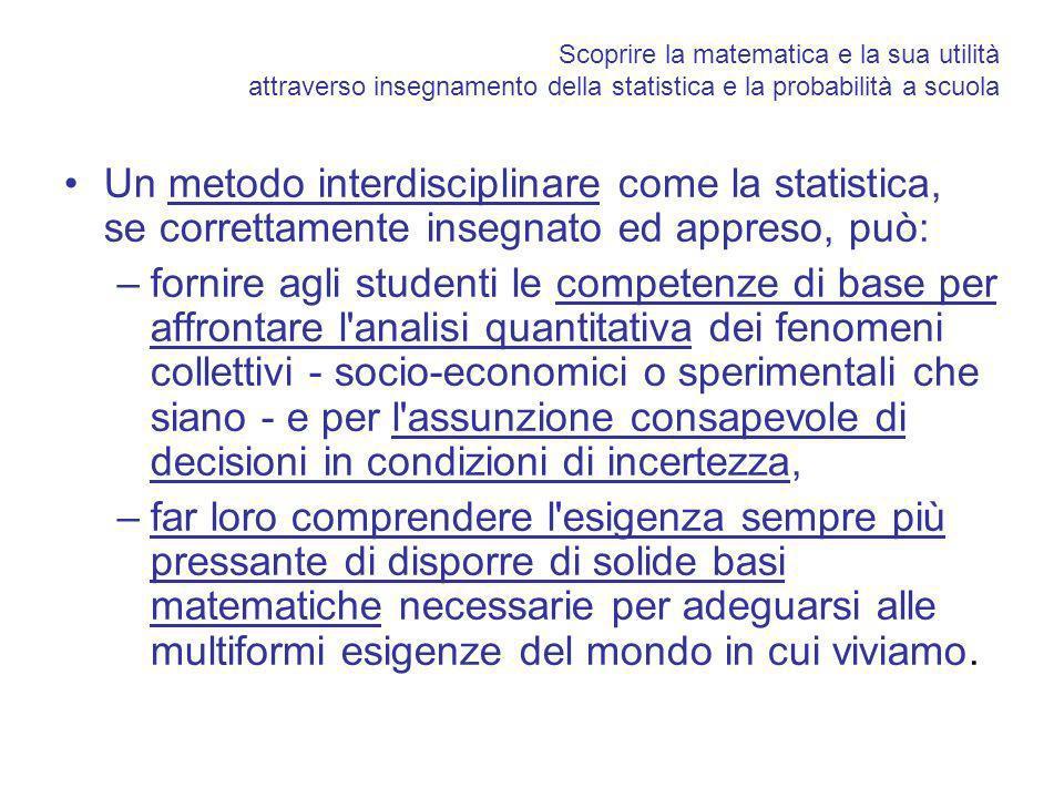 Scoprire la matematica e la sua utilità attraverso insegnamento della statistica e la probabilità a scuola Un metodo interdisciplinare come la statist
