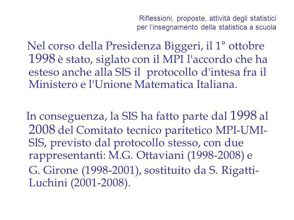 Riflessioni, proposte, attività degli statistici per linsegnamento della statistica a scuola Nel corso della Presidenza Biggeri, il 1° ottobre 1998 è stato, siglato con il MPI l accordo che ha esteso anche alla SIS il protocollo d intesa fra il Ministero e l Unione Matematica Italiana.