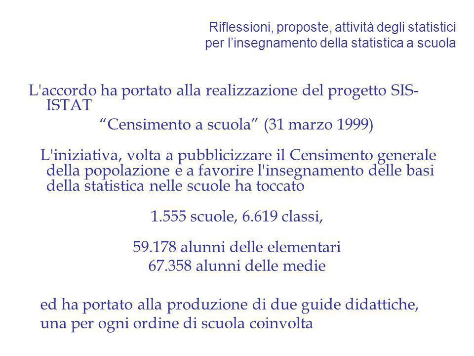 Riflessioni, proposte, attività degli statistici per linsegnamento della statistica a scuola L'accordo ha portato alla realizzazione del progetto SIS-