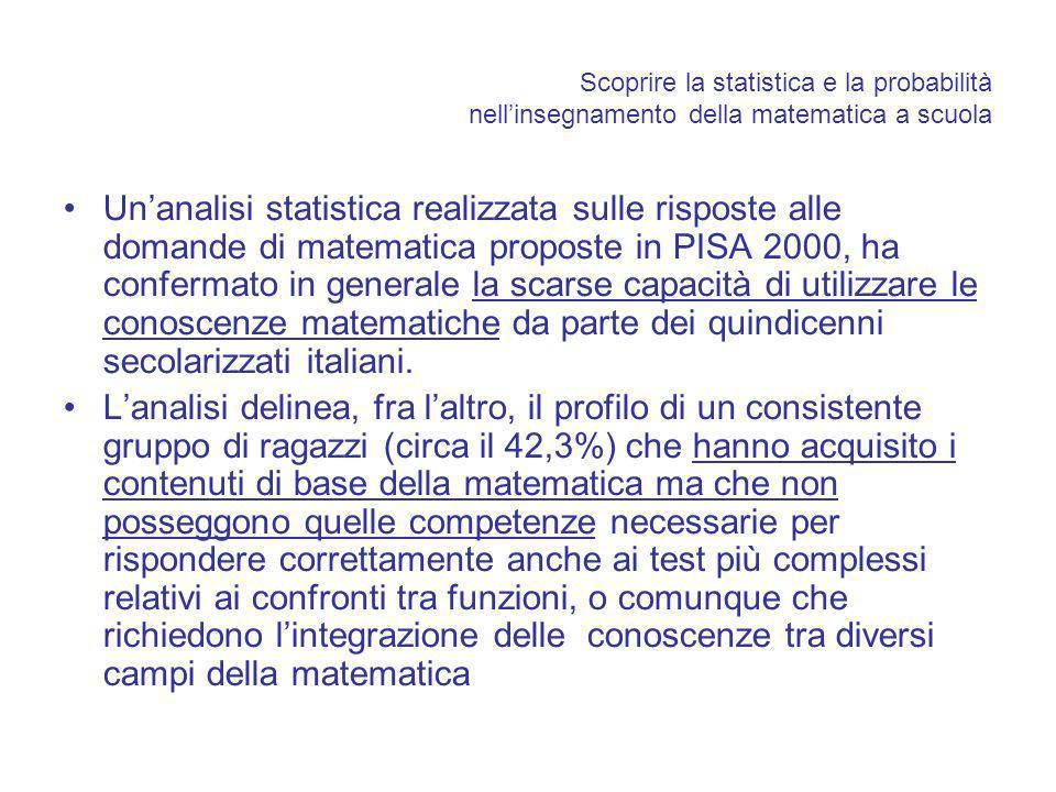 Scoprire la statistica e la probabilità nellinsegnamento della matematica a scuola Unanalisi statistica realizzata sulle risposte alle domande di matematica proposte in PISA 2000, ha confermato in generale la scarse capacità di utilizzare le conoscenze matematiche da parte dei quindicenni secolarizzati italiani.