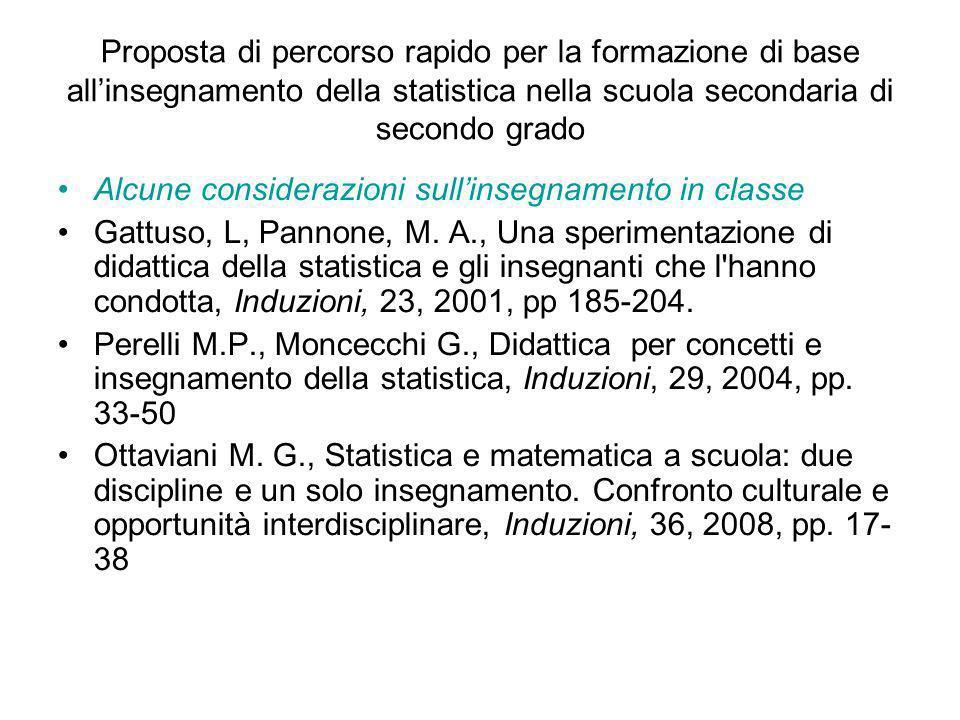 Proposta di percorso rapido per la formazione di base allinsegnamento della statistica nella scuola secondaria di secondo grado Alcune considerazioni sullinsegnamento in classe Gattuso, L, Pannone, M.