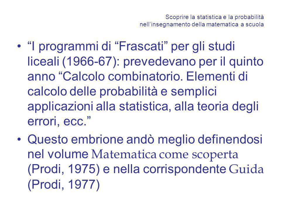 Scoprire la statistica e la probabilità nellinsegnamento della matematica a scuola Prodi giustificava così questa introduzione: Il calcolo delle probabilità è straordinariamente ricco e stimolante, adatto ad un insegnamento che punti sullattività euristica …..