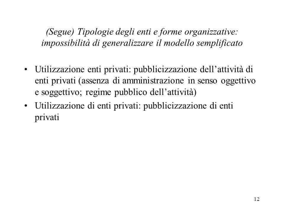12 (Segue) Tipologie degli enti e forme organizzative: impossibilità di generalizzare il modello semplificato Utilizzazione enti privati: pubblicizzaz