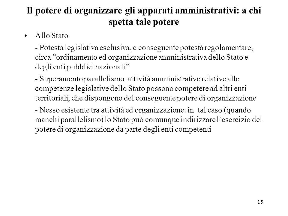 15 Il potere di organizzare gli apparati amministrativi: a chi spetta tale potere Allo Stato - Potestà legislativa esclusiva, e conseguente potestà re