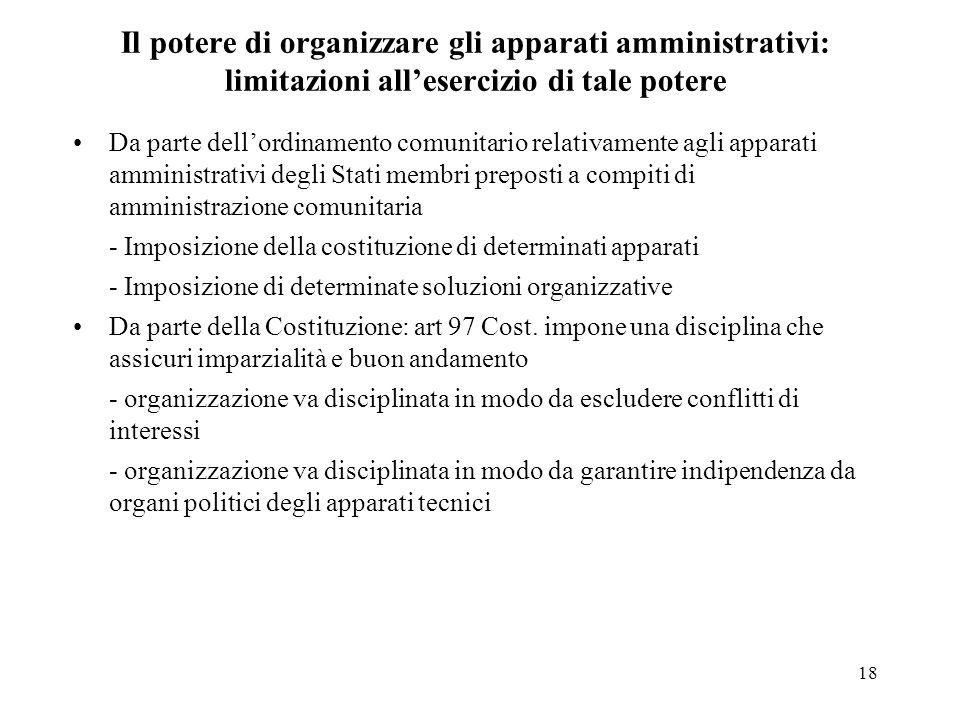 18 Il potere di organizzare gli apparati amministrativi: limitazioni allesercizio di tale potere Da parte dellordinamento comunitario relativamente ag