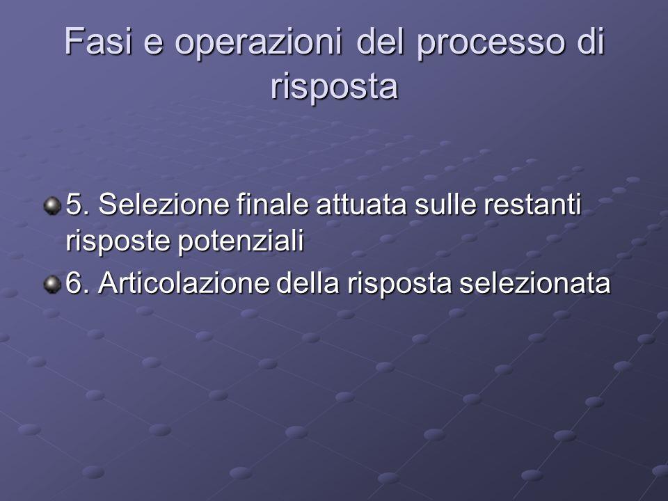 Fasi e operazioni del processo di risposta 5. Selezione finale attuata sulle restanti risposte potenziali 6. Articolazione della risposta selezionata