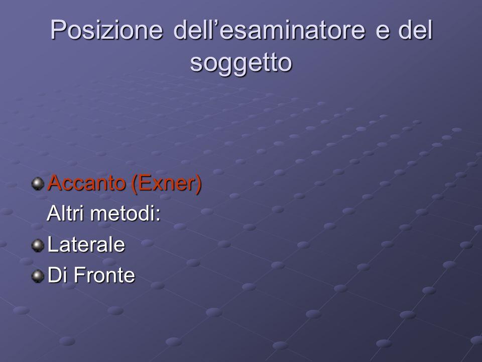 Posizione dellesaminatore e del soggetto Accanto (Exner) Altri metodi: Altri metodi:Laterale Di Fronte
