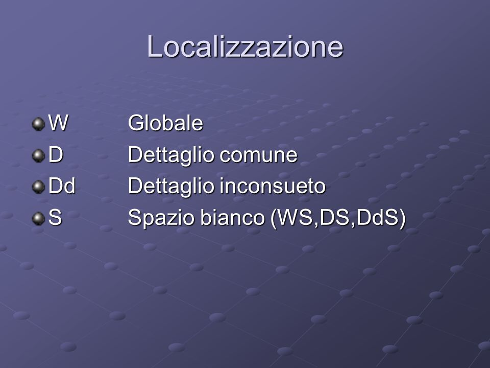 Localizzazione WGlobale DDettaglio comune DdDettaglio inconsueto SSpazio bianco (WS,DS,DdS)