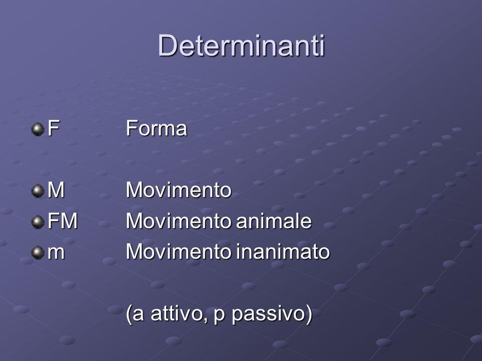 Determinanti FForma MMovimento FMMovimento animale mMovimento inanimato (a attivo, p passivo)