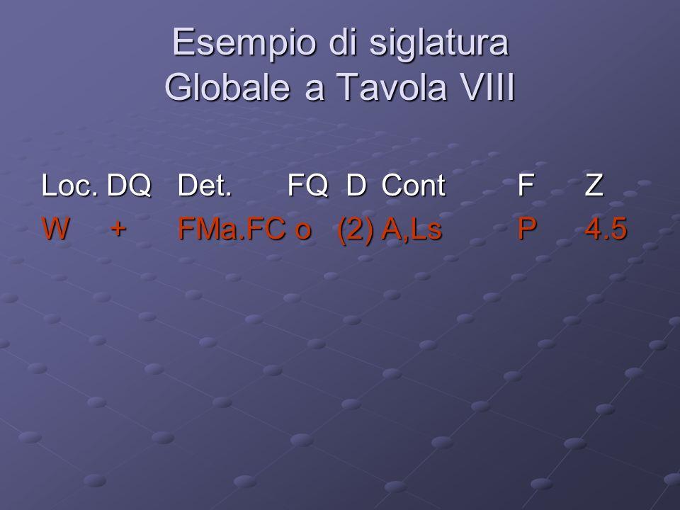 Esempio di siglatura Globale a Tavola VIII Loc. DQDet. FQ DContFZ W+FMa.FC o (2)A,LsP4.5