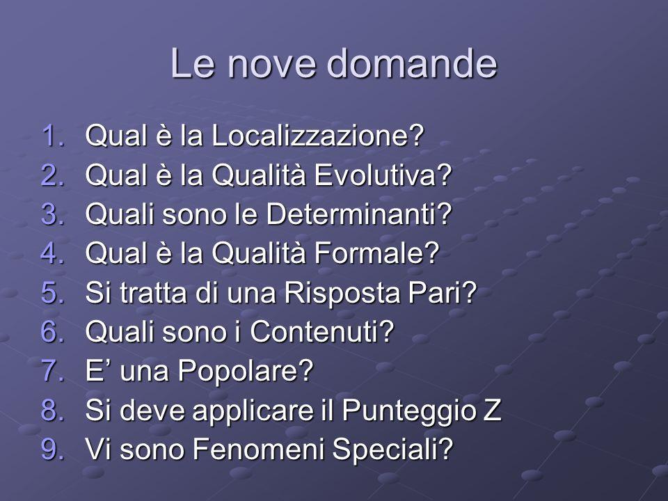 Le nove domande 1.Qual è la Localizzazione? 2.Qual è la Qualità Evolutiva? 3.Quali sono le Determinanti? 4.Qual è la Qualità Formale? 5.Si tratta di u