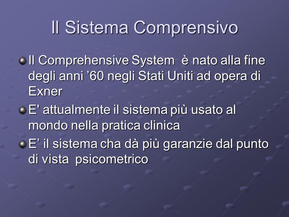 Il Sistema Comprensivo Il Comprehensive System è nato alla fine degli anni 60 negli Stati Uniti ad opera di Exner E' attualmente il sistema più usato