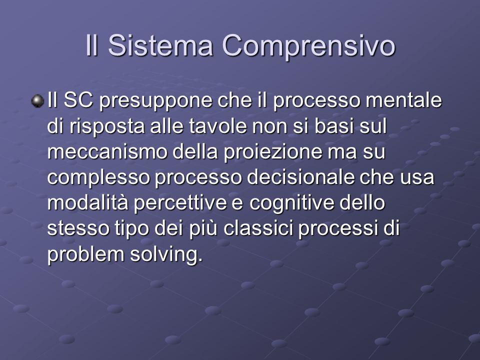 Il Sistema Comprensivo Il SC presuppone che il processo mentale di risposta alle tavole non si basi sul meccanismo della proiezione ma su complesso pr
