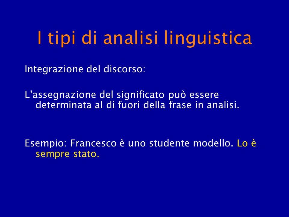 I tipi di analisi linguistica Integrazione del discorso: Lassegnazione del significato può essere determinata al di fuori della frase in analisi. Esem