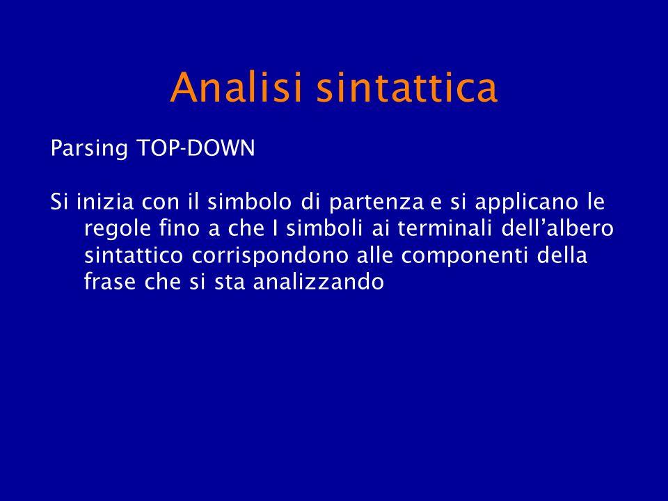 Analisi sintattica Parsing TOP-DOWN Si inizia con il simbolo di partenza e si applicano le regole fino a che I simboli ai terminali dellalbero sintatt