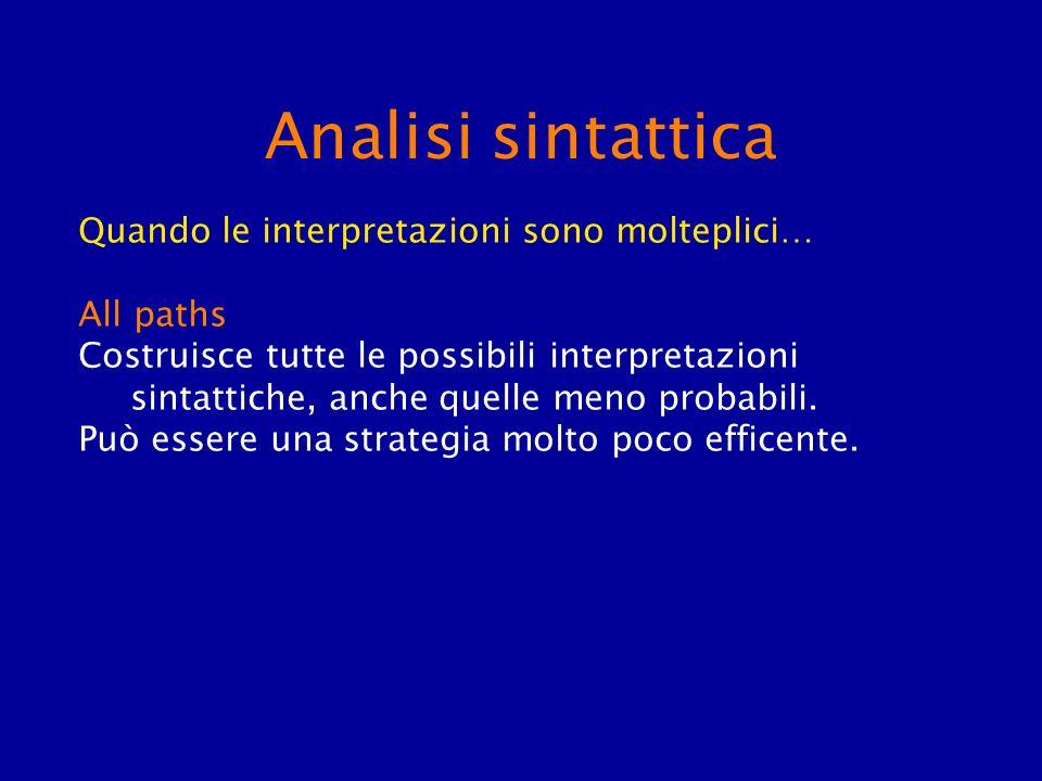 Analisi sintattica Quando le interpretazioni sono molteplici… All paths Costruisce tutte le possibili interpretazioni sintattiche, anche quelle meno p
